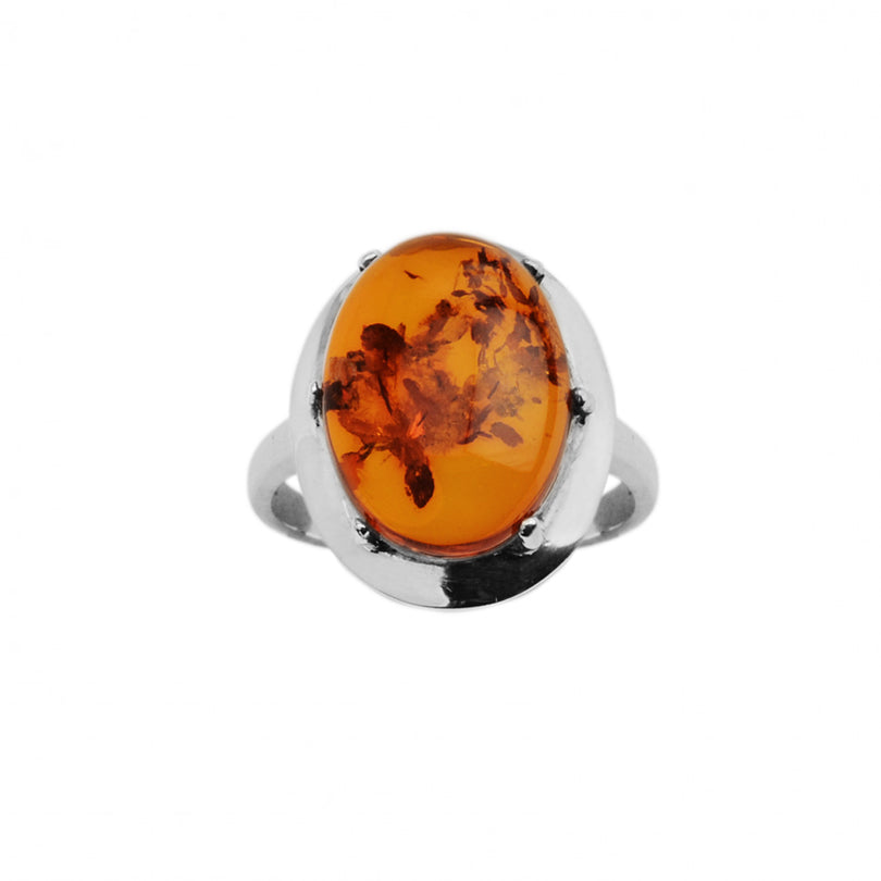Exquisite Cognac Baltic Amber Sterling Silver Ring