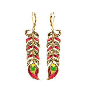Red Peacock Feather 14kt Gold Plated Marcasite Statement Peacock Earrings