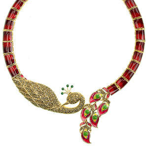 Gorgeous Imperial Red Golden Marcasite Peacock Statement Necklace