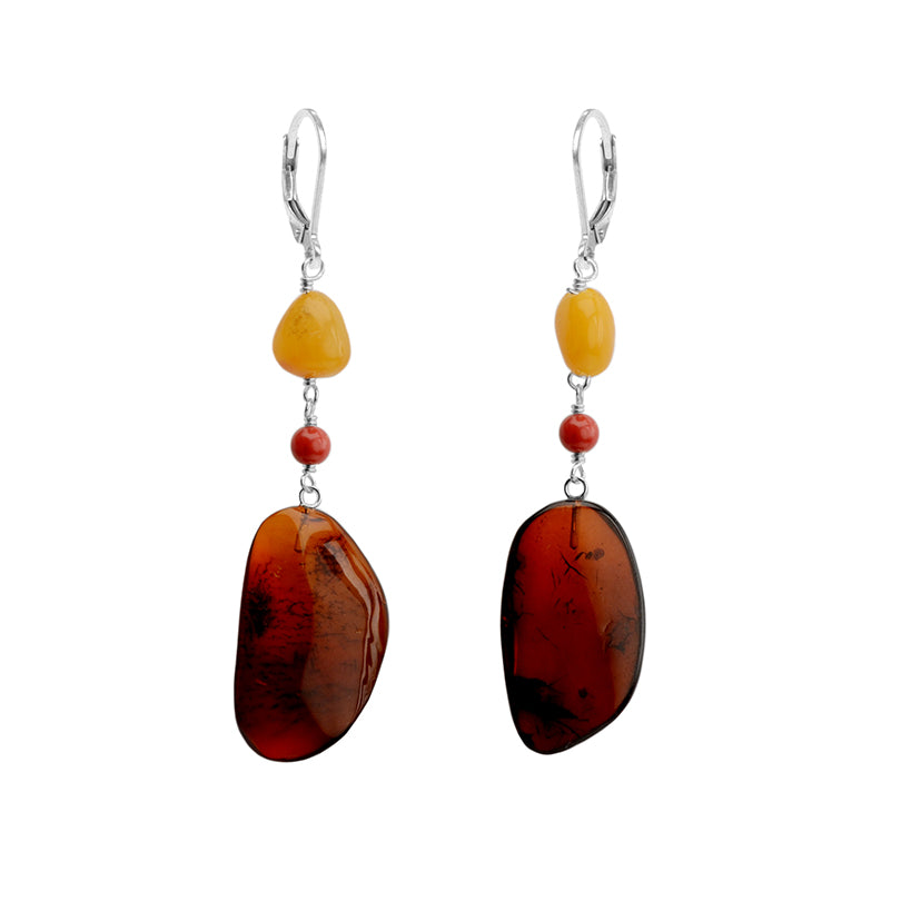 Magnificent Baltic Amber and Coral Sterling Silver Earrings