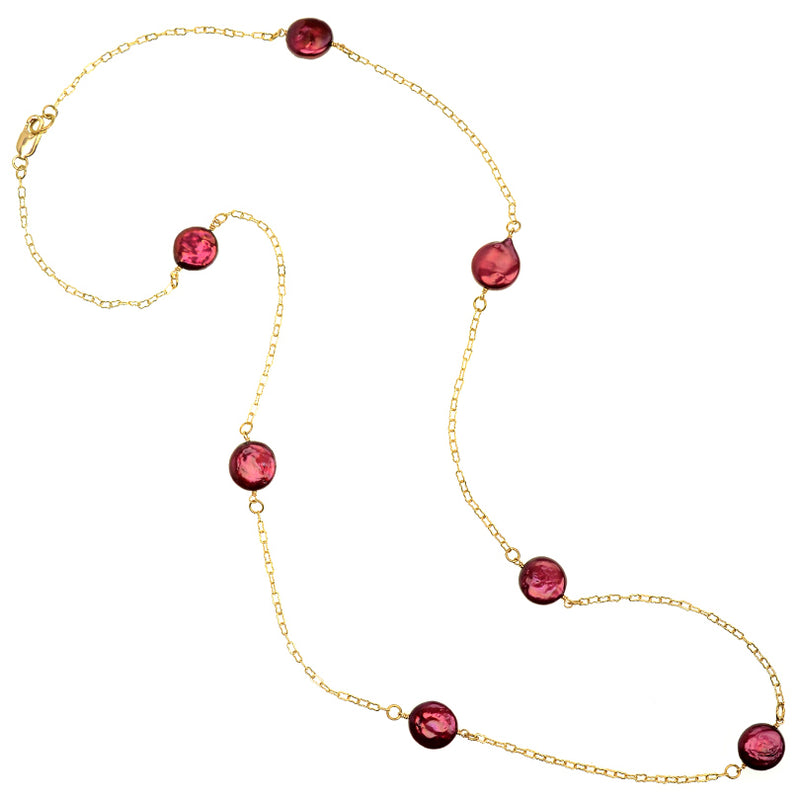 Gold Plated Chain Fresh Water Coin Pearl Necklace - 54