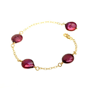 Rich Burgundy Fresh Water Coin Pearl Gold Plated Bracelet