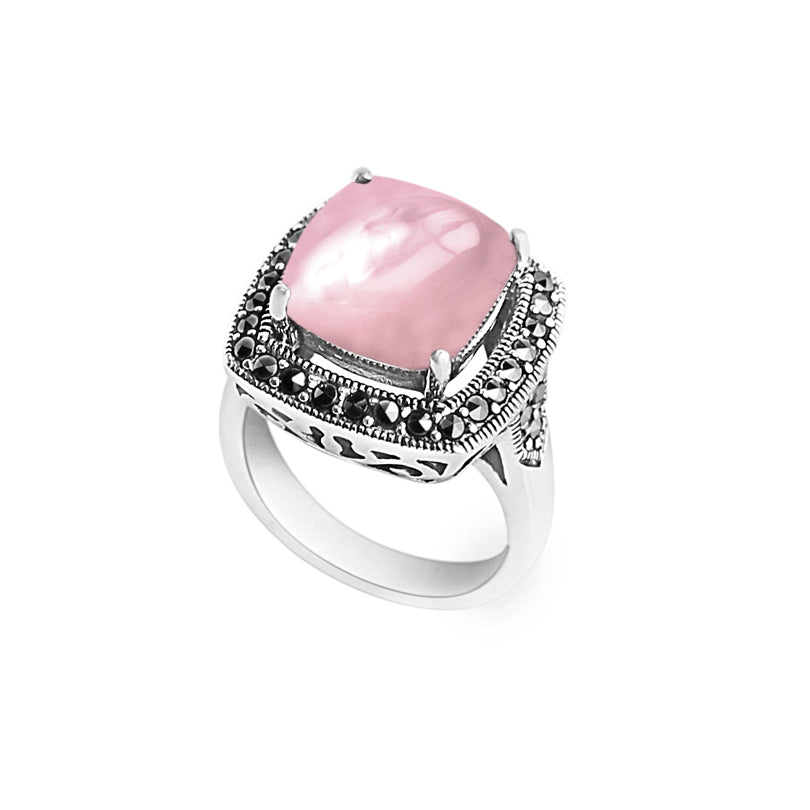 Exquisite Shimmering Pink Mother of Pearl with Sparkling Marcasite Sterling Silver Ring