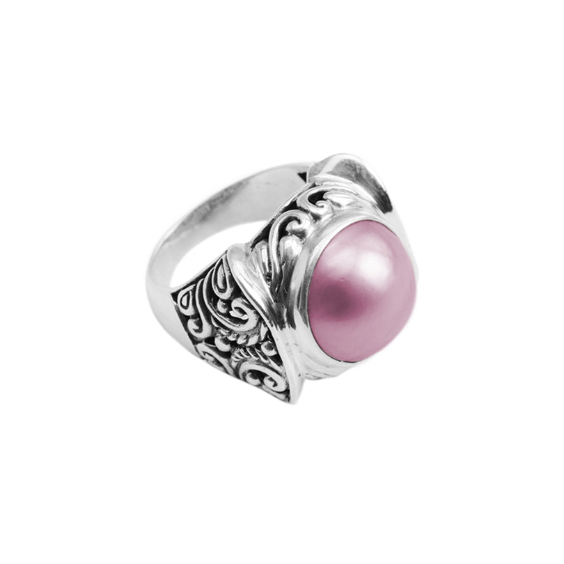 Pink Mabe Pearl Sterling Silver Ring