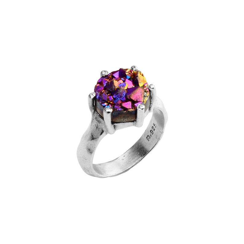 Petite Purple Titanium Drusy Sterling Silver Ring