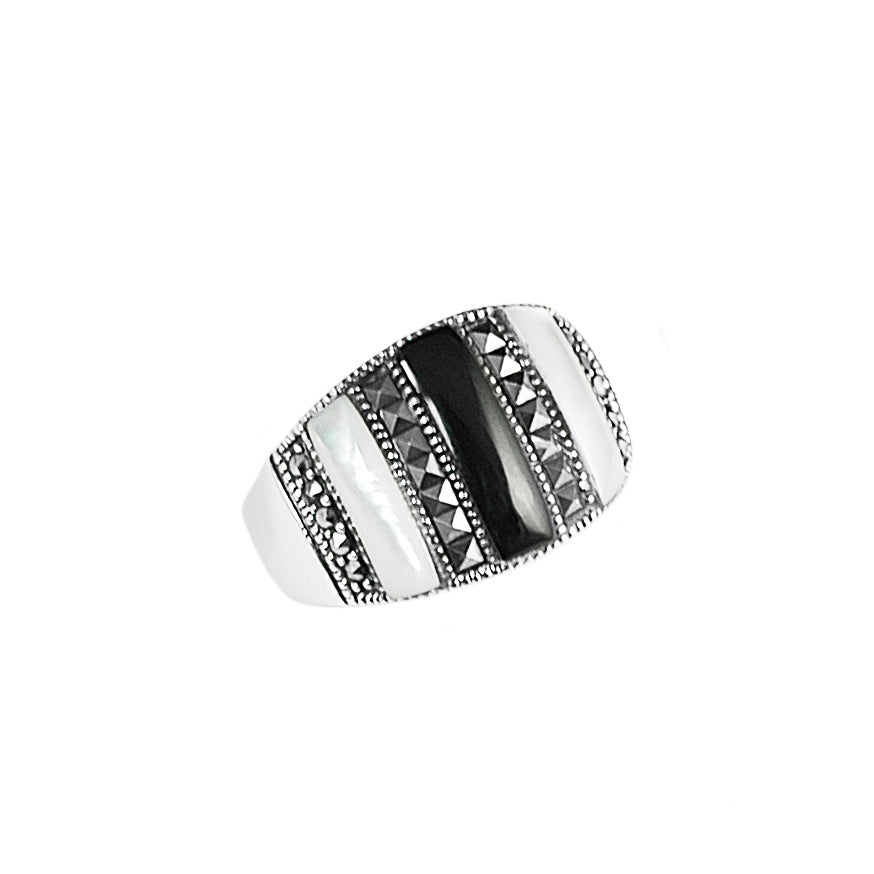 Classy Black Onyx and Marcasite and Mother of Pearl Sterling Silver Ring