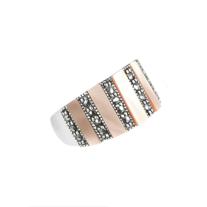 Elegant Striped Marcasite Sterling Silver Ring
