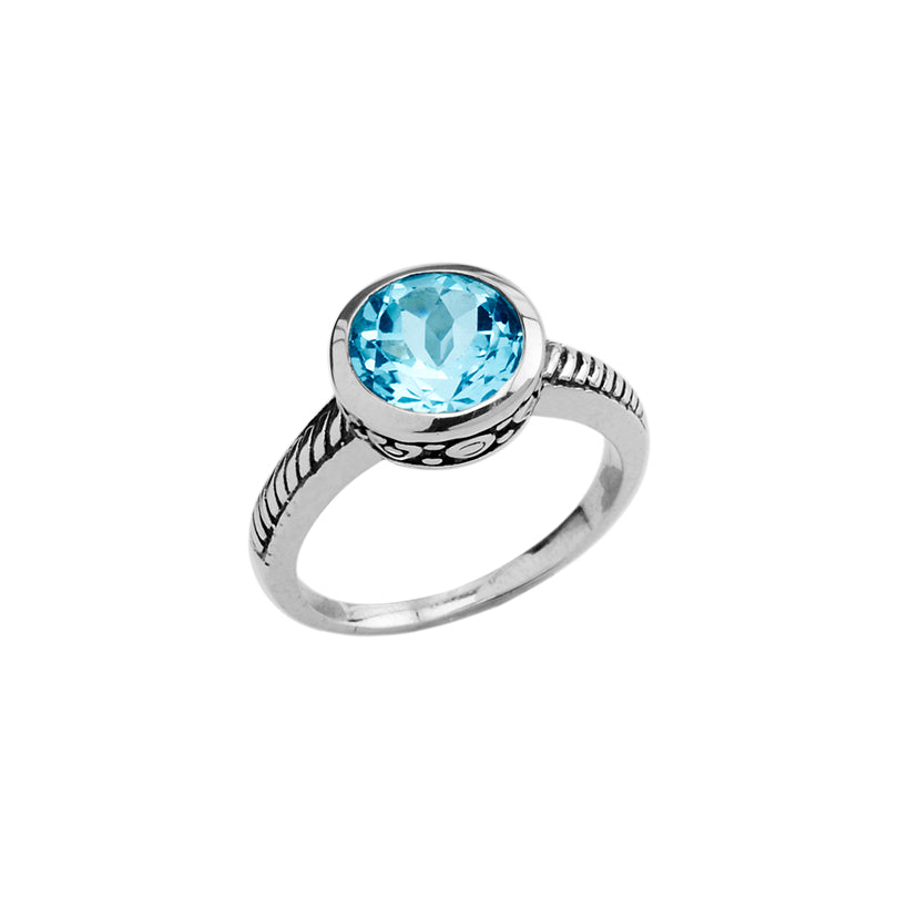 Gorgeous Delicate Blue Topaz Sterling Silver Ring