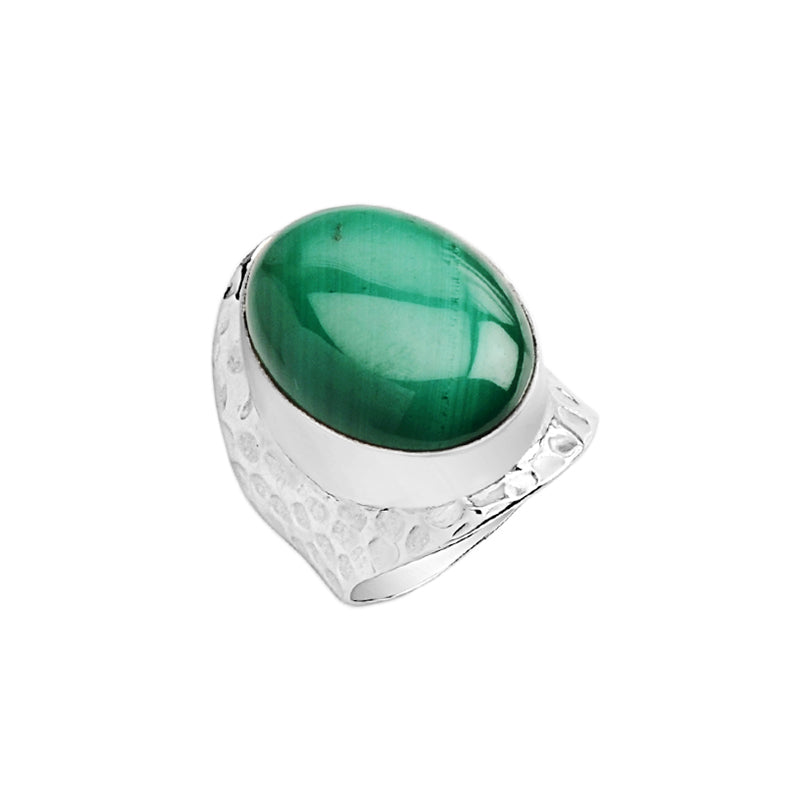 Natural Lush Green Malachite Hammered Sterling Silver Ring