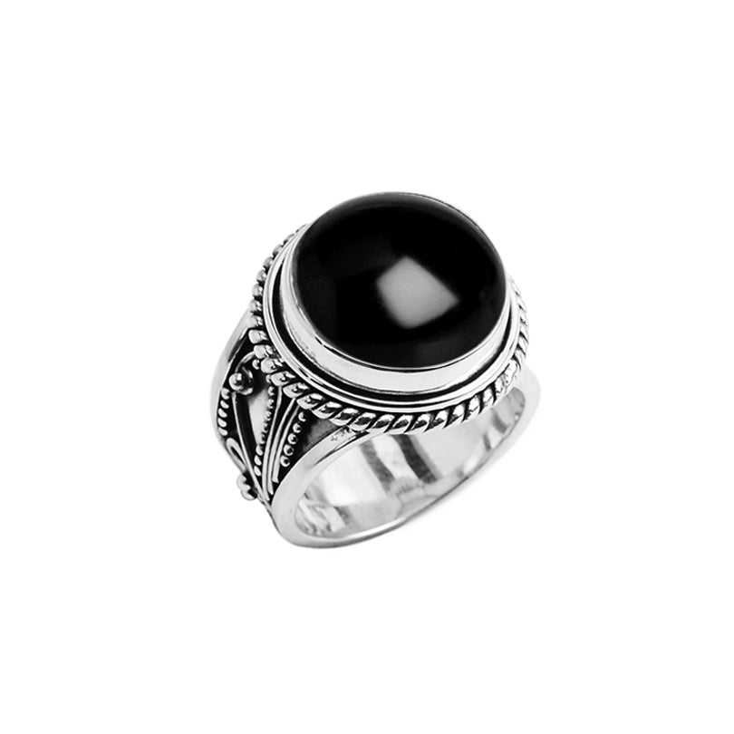 Exciting Smooth Black Onyx Sterling Silver Filigree Ring