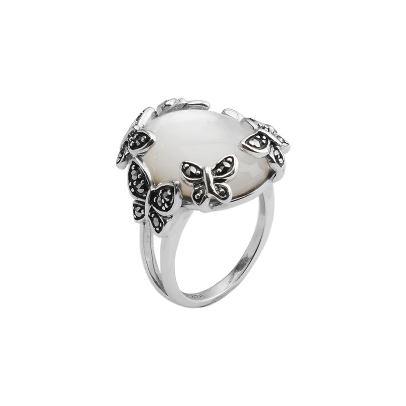 Pink Mother of Pearl with Marcasite Butterflies Ring