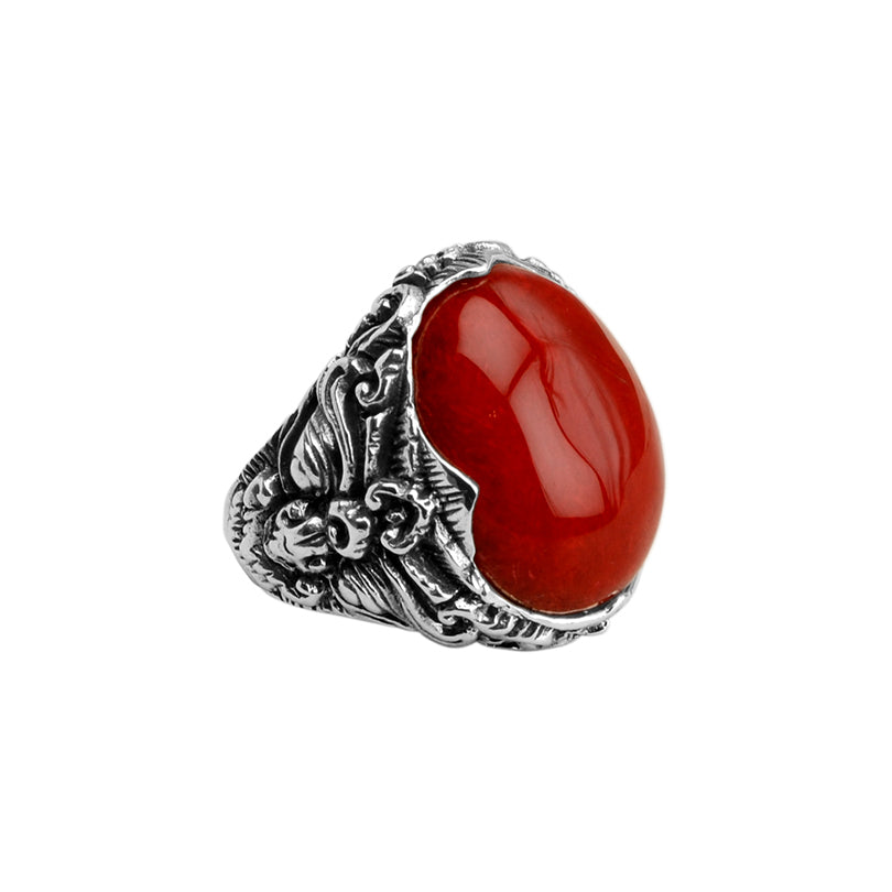 Deep Red Coral Balinese Sterling Silver Ring