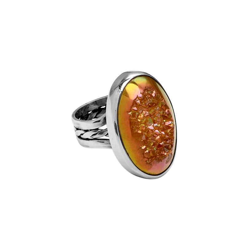 Golden Rose Titanium Drusy Sterling Silver Ring