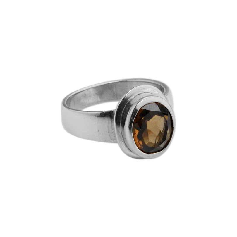 Petite Smoky Quartz Sterling Silver Ring