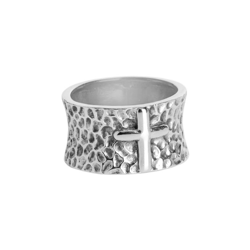 Beautiful Hammered Sterling Silver Cross Ring