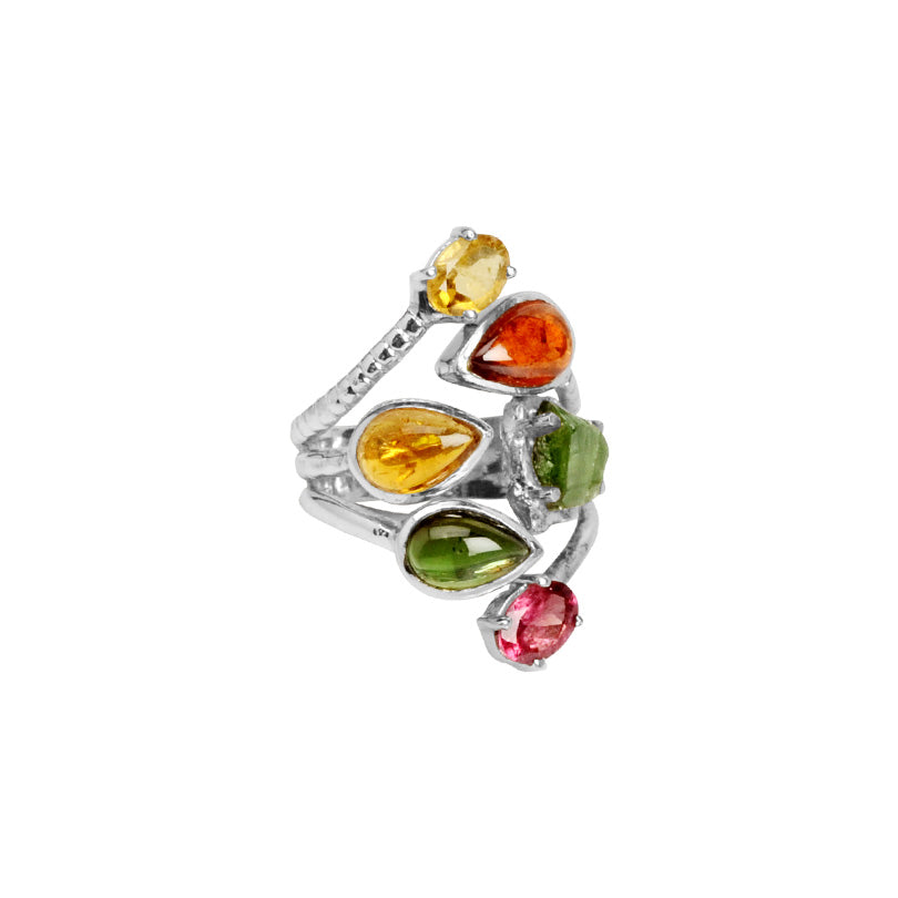 Starborn Radiant Rainbow of Tourmaline Sterling Silver Ring