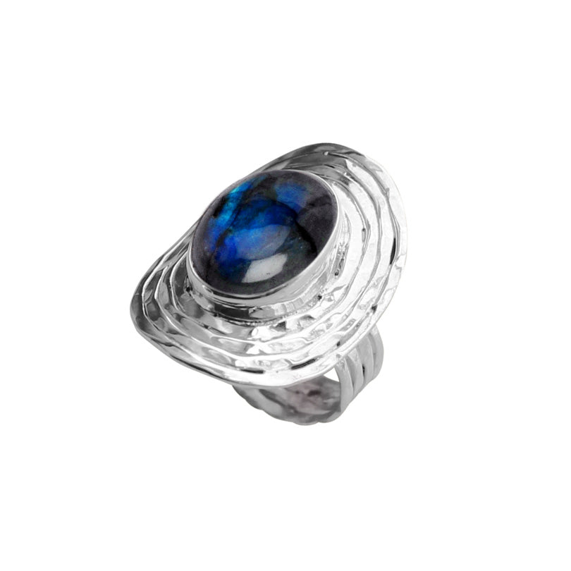 Labradorite Stone Sterling Silver Statement Ring