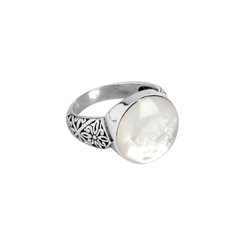 Shimmering Mother of Pearl Balinese Filigree Sterling Silver Ring