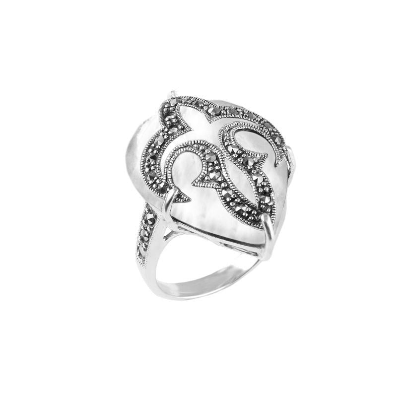 Fleur de Lis Marcasite Sterling Silver Statement Ring