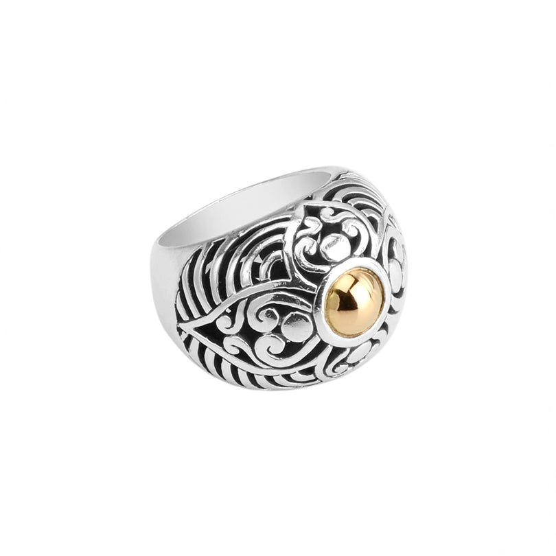 Gorgeous Balinese Sterling Silver Filigree Ring with 18kt Gold Center