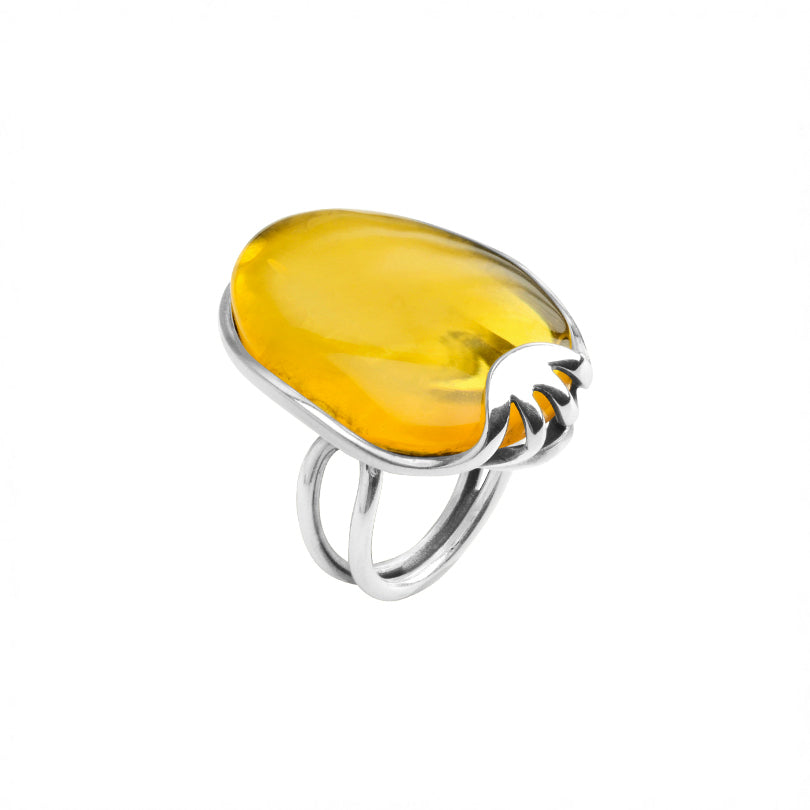 Yellow Baltic Amber Sterling Silver Ring