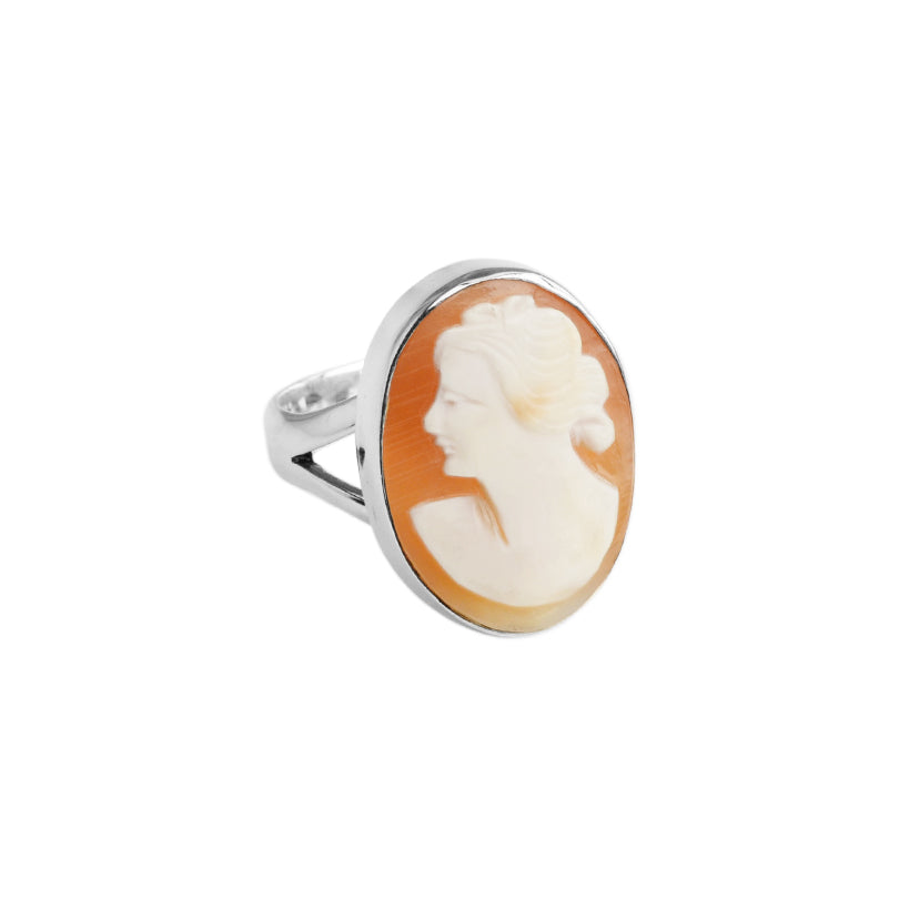 Vintage Style Carved Cameo Sterling Silver Ring