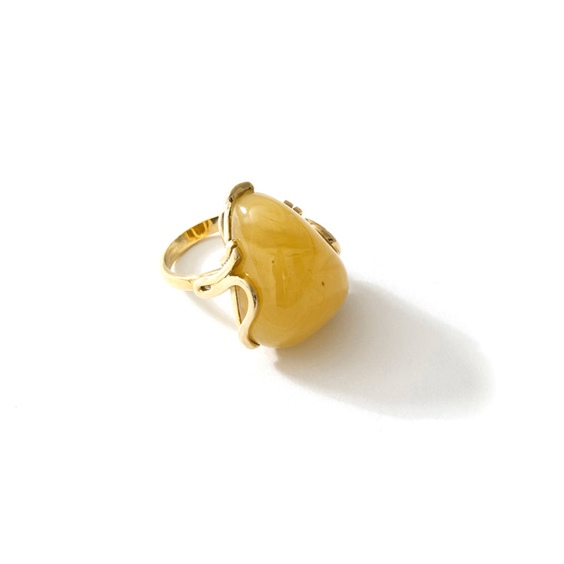 Sunshine Butterscotch Baltic Amber Sterling Silver Statement Ring