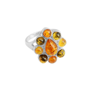 Mixed Baltic Amber Sterling Silver Ring