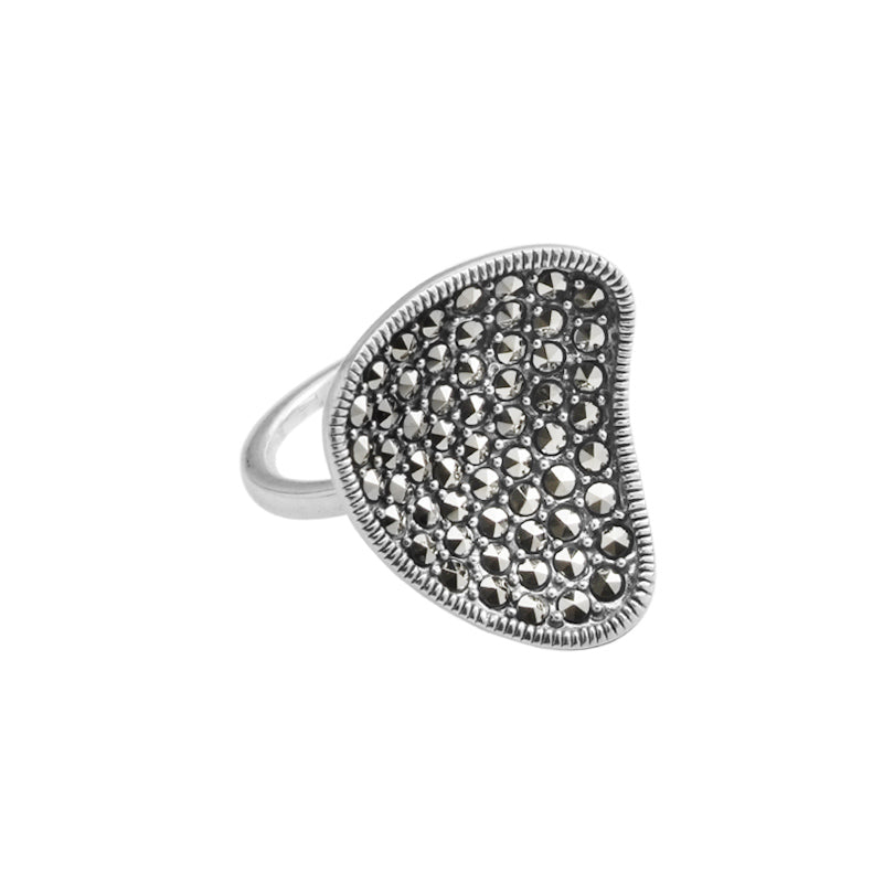 Concave Design Marcasite Sterling Silver Ring