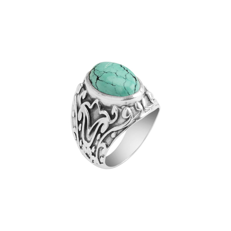 Spectacular Genuine Turquoise Silver Design Sterling Silver Ring