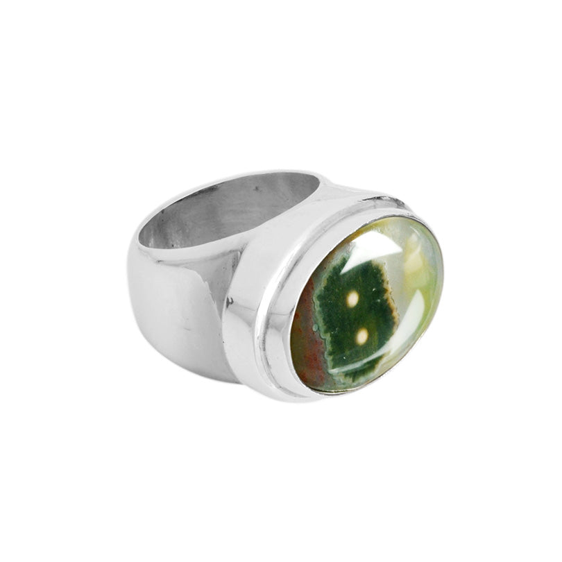 Genuine Ocean Jasper Sterling Silver Ring