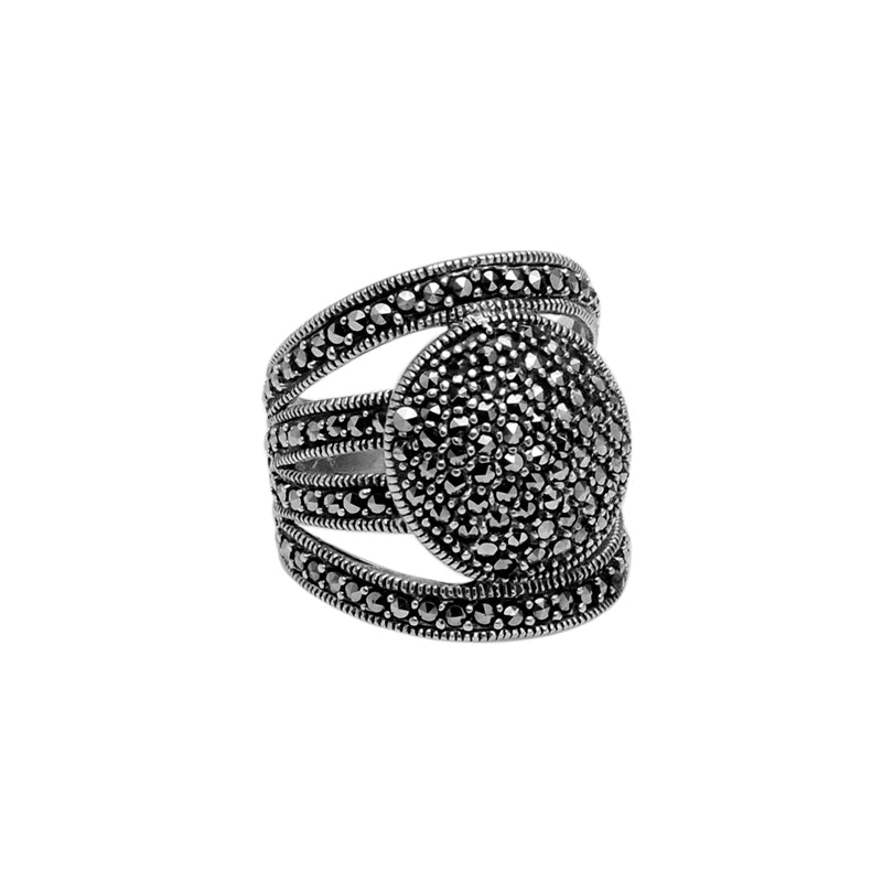 Stunning Marcasite Wide Band Cocktail Sterling Silver Ring