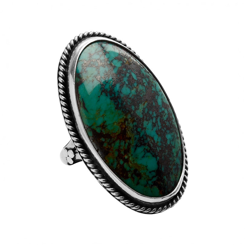 Long Masterful Genuine Turquoise Sterling Silver Statement Ring