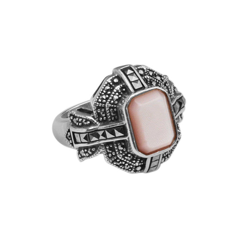 Elegant Pink Mother of Pearl and Marcasite Sterling Silver Ring