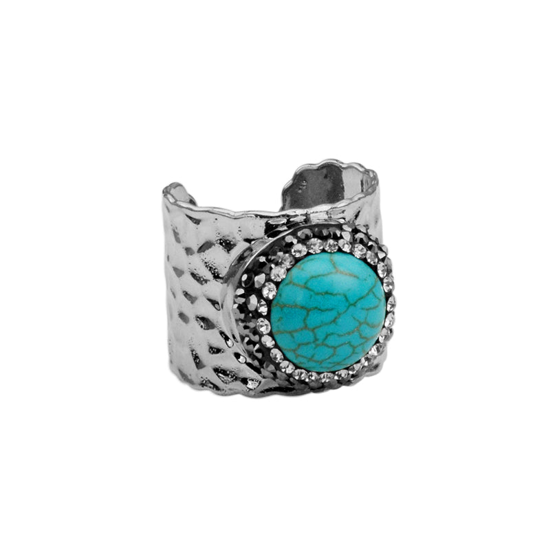 Hematite and Crystal Encircled Howlite Turquoise Ring
