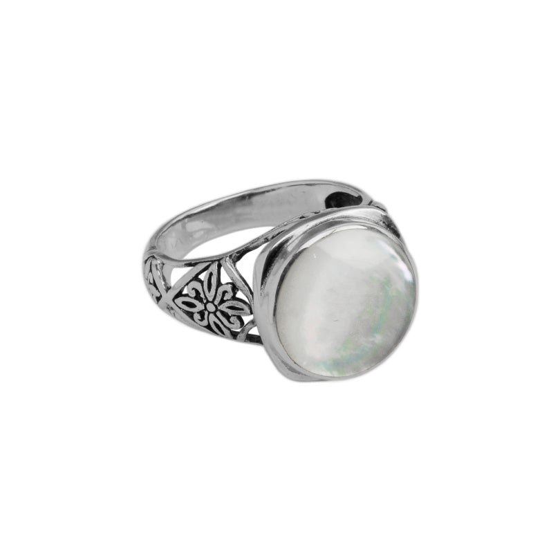 Lovely Mother of Pearl Balinese Sterling Silver Ring