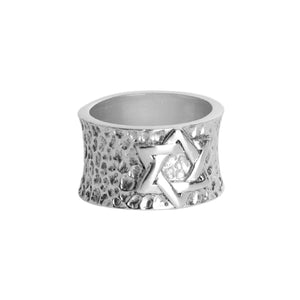 Hammered Star of David Sterling Silver Band Ring