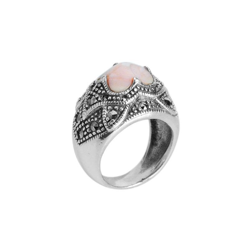 Victorian Design Champagne Pink Mother of Pearl and Marcasite Ring