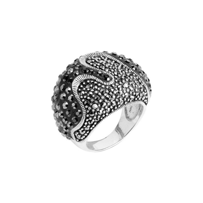 Hematite And Marcasite Sterling Silver Statement Ring