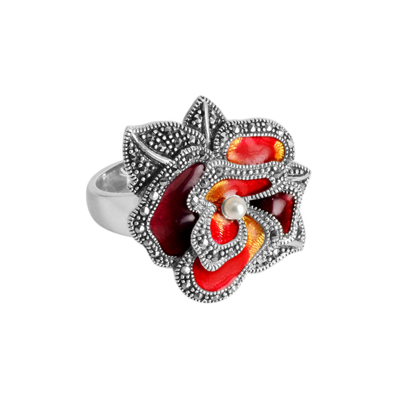 Vibrant Marcasite, Enamel And Fresh Water Pearl Flower Sterling Silver Ring