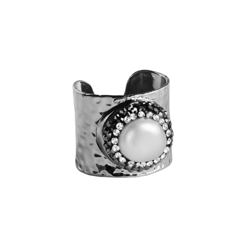 Sparkling Fresh Water Pearl Surrounded With Hematites and Crystals Silver Plated Ring