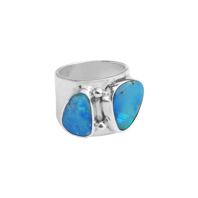 Gorgeous Genuine Australian Blue Opal Sterling Silver Statement Ring