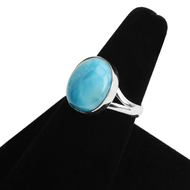 Lovely Larimar Small Stone Sterling Silver Ring