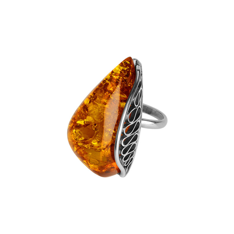 Magnificent Sparkling Cognac Baltic Amber Sterling Silver Statement Ring
