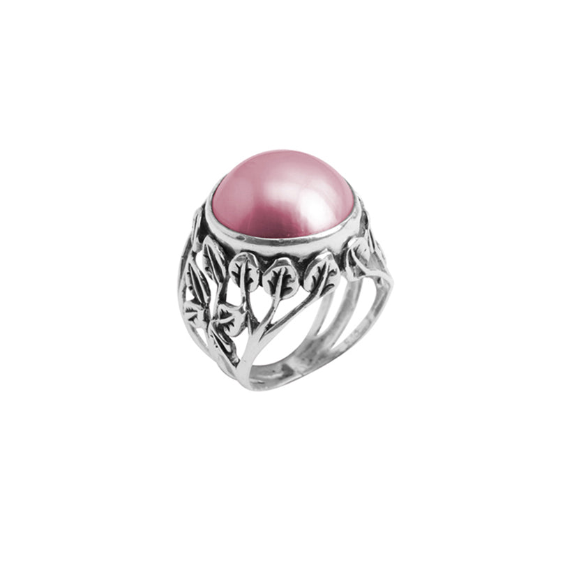 Shimmering Pink Mabe Pearl Sterling Silver Ring