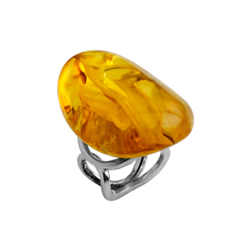 Honey Cognac Baltic Amber Sterling Silver Statement Ring