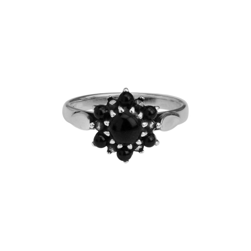 Petite Black Onyx and Marcasite Sterling Silver