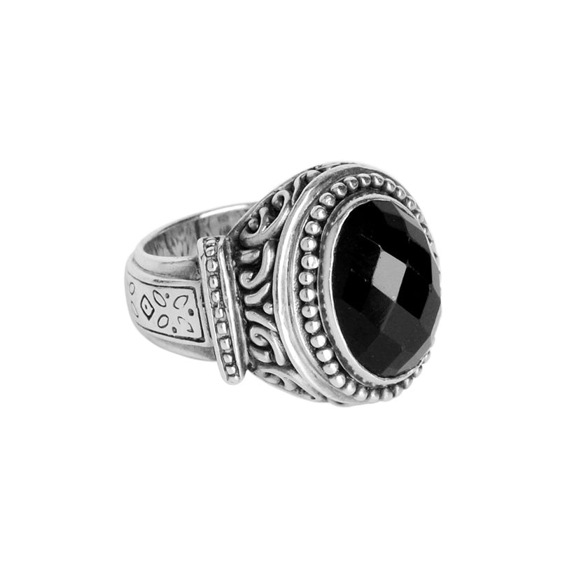 Luxurious Faceted Black Onyx Balinese Design Sterling Silver Ring