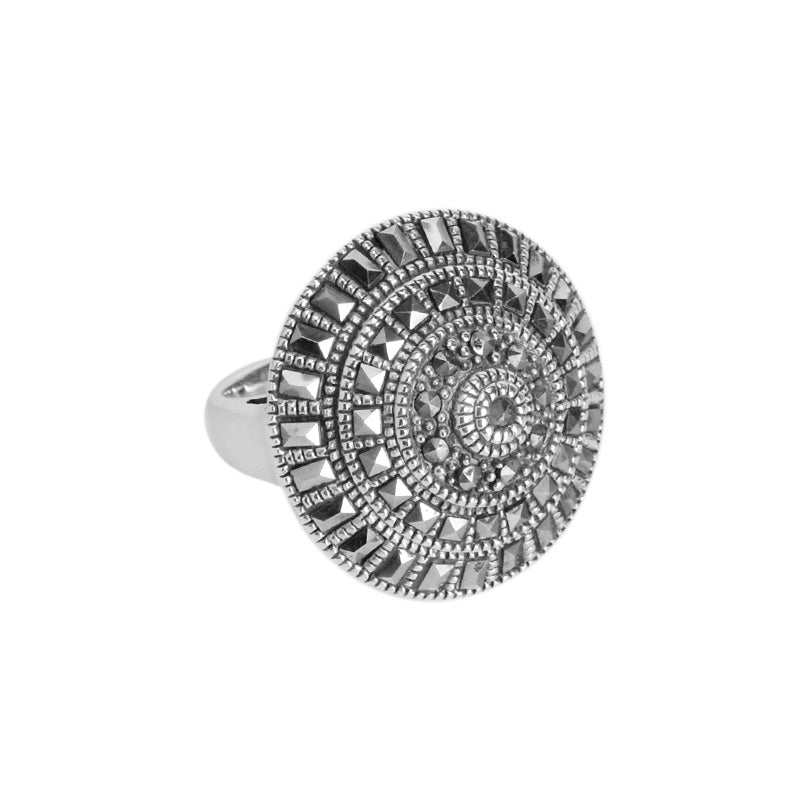 Dazzling Marcasite Sterling Silver Statement Cocktail Ring
