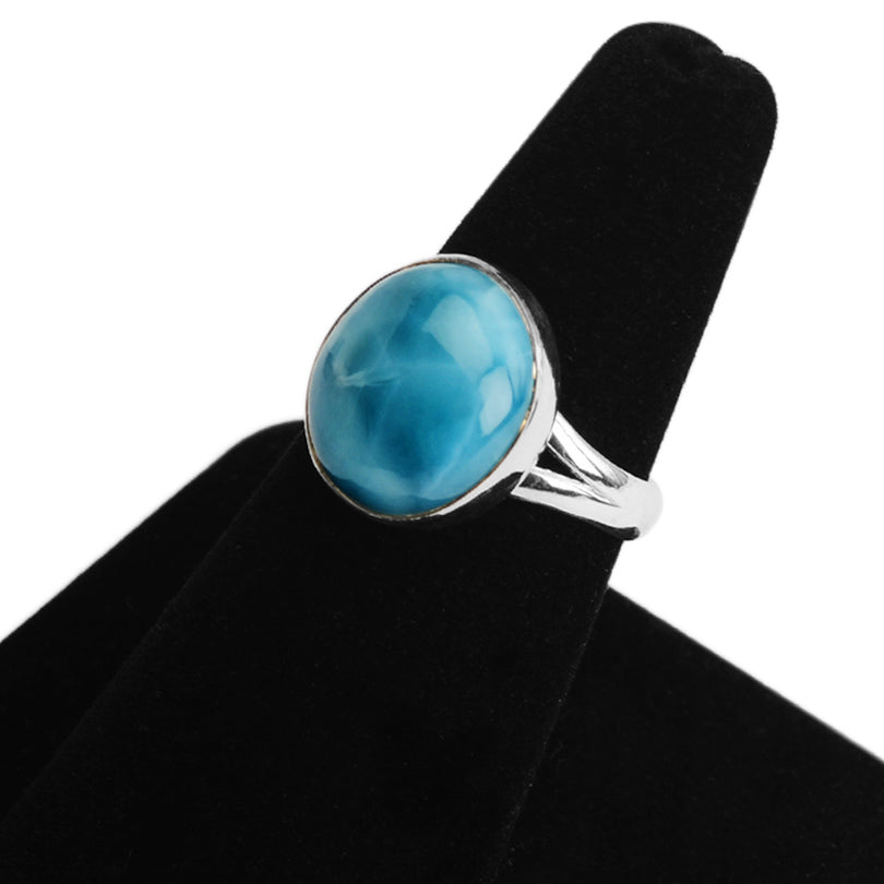 Pretty Blue Larimar Sterling Silver Ring